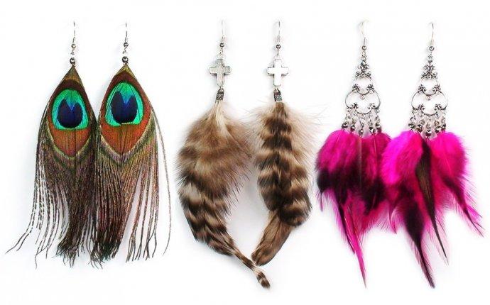 сделать серьги своими руками из перьев